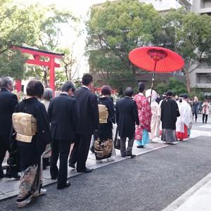 朱傘による参進(花嫁行列)