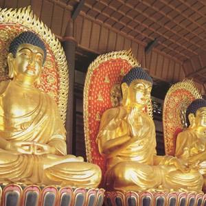木彫金箔座像三大仏